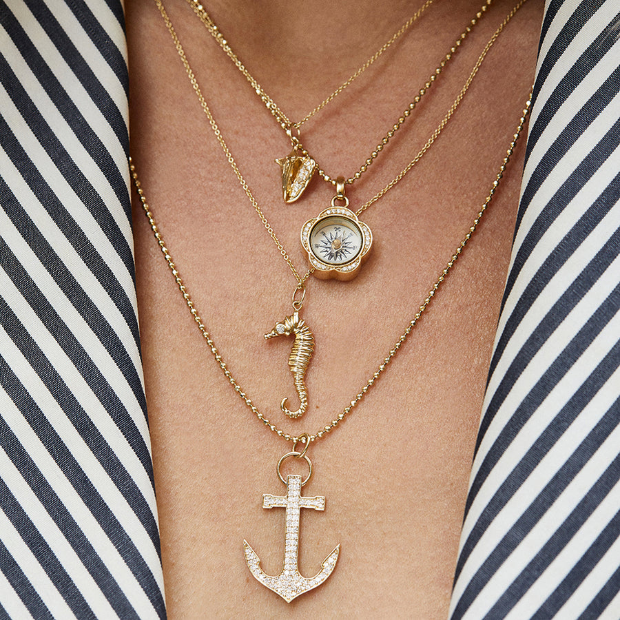 Gold & Diamond Sea Horse Charm Necklace