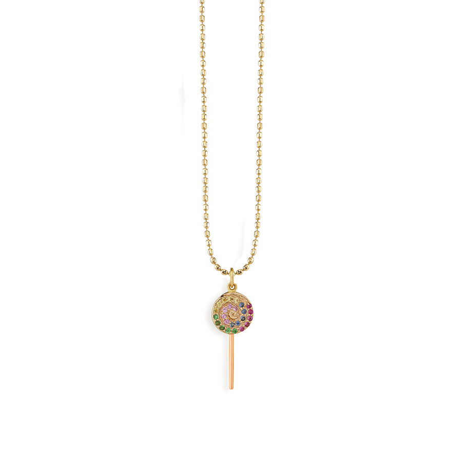 Gold & Rainbow Lollipop Necklace