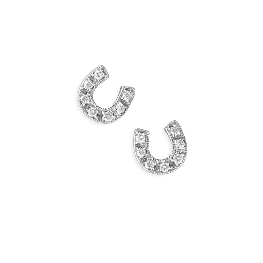 Gold & Diamond Horseshoe Studs