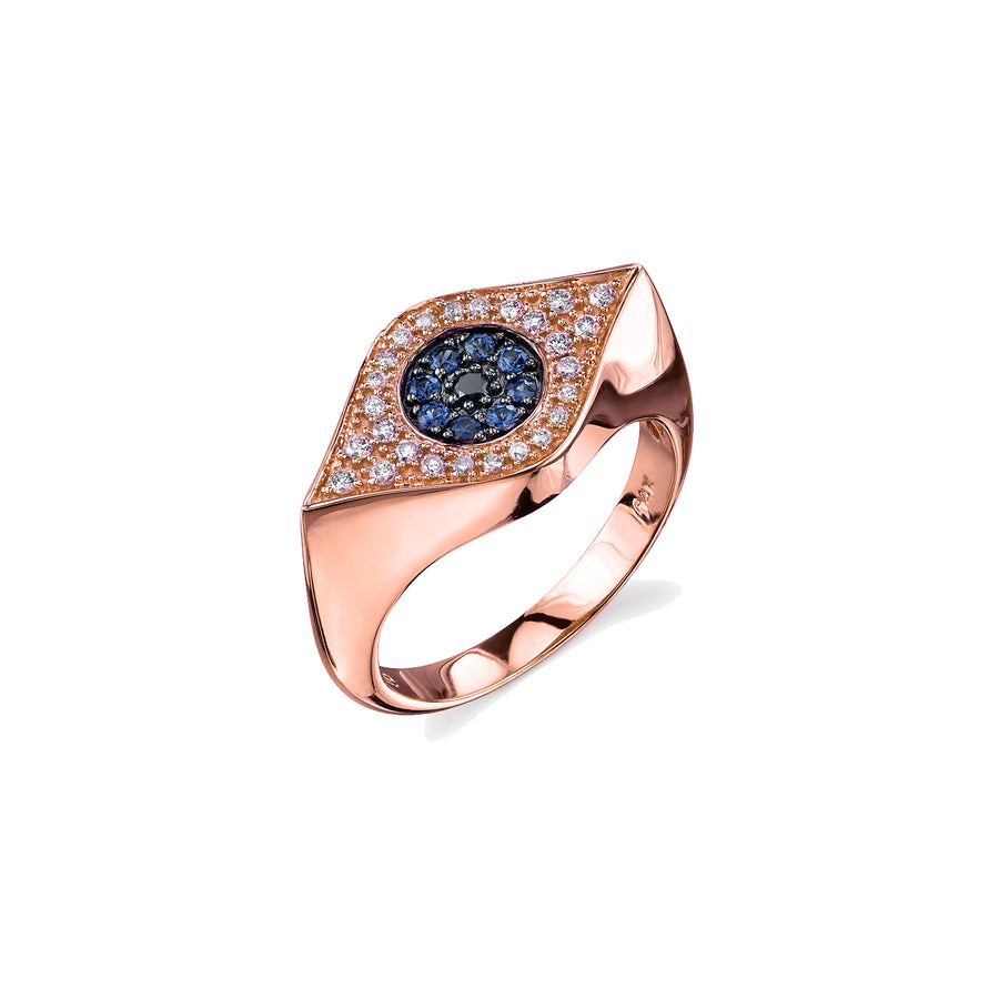 Gold & Diamond Medium Evil Eye Signet Ring