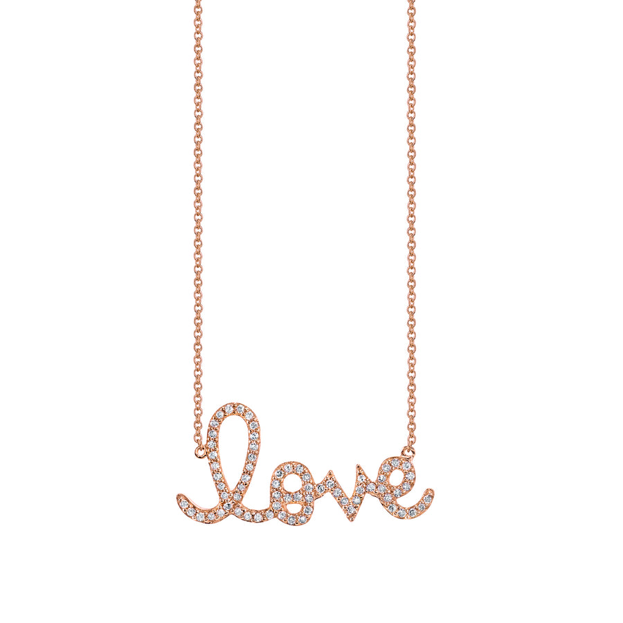 Large Gold & Diamond Love Necklace