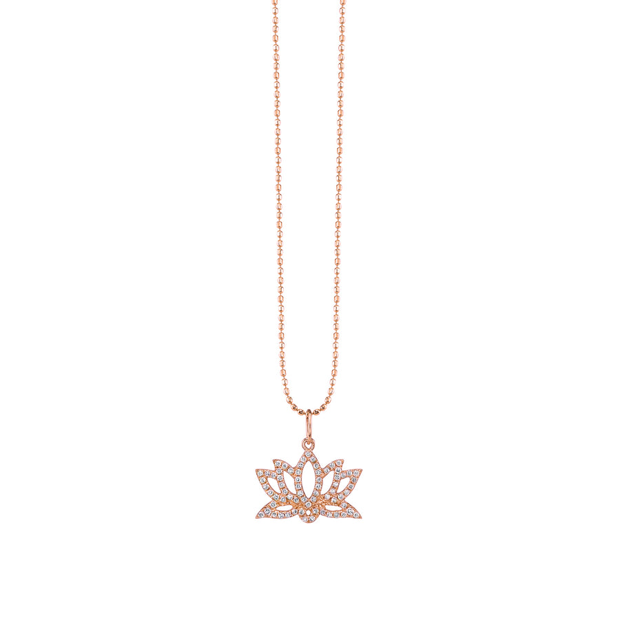 Gold & Diamond Pave Lotus Necklace