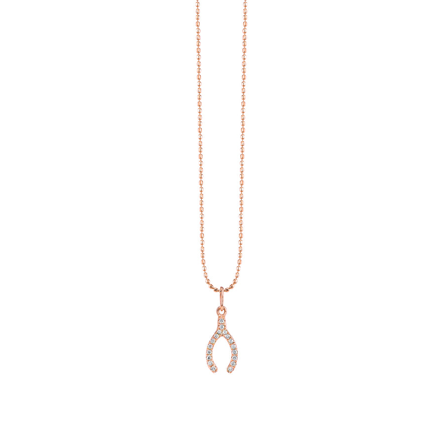 Gold & Micropave Diamond Wishbone Necklace