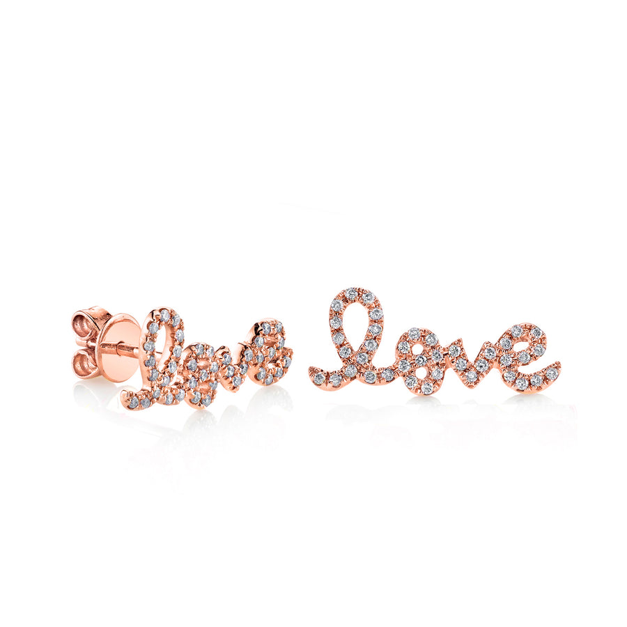 Gold & Diamond Love Studs