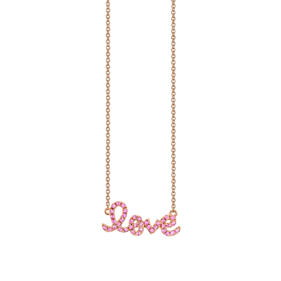 Rose Gold & Pink Sapphire Small Love Necklace
