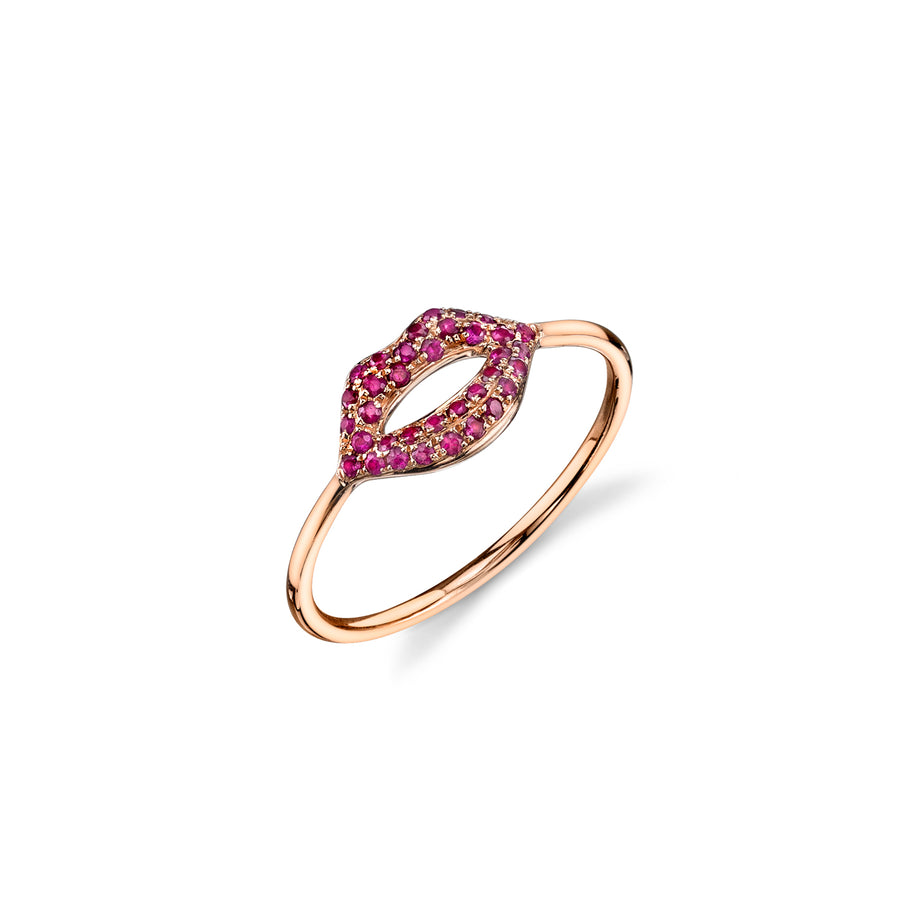 Gold & Ruby Lips Ring