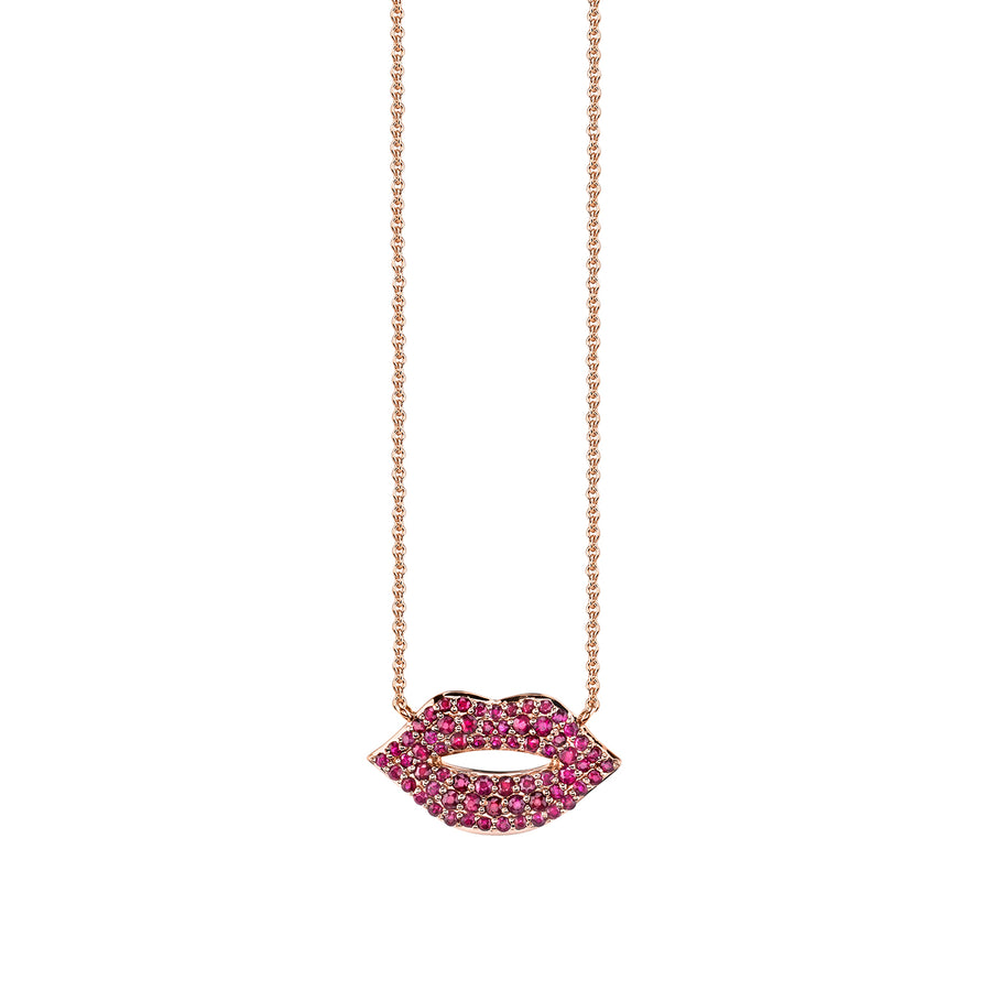 Gold & Ruby Lips Necklace