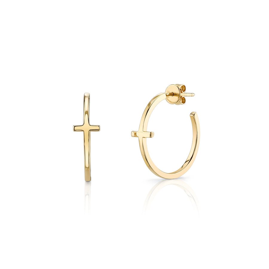 Small Yellow-Gold Cross Hoops