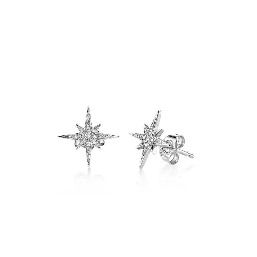 Small Gold & Diamond Starburst Stud Earrings