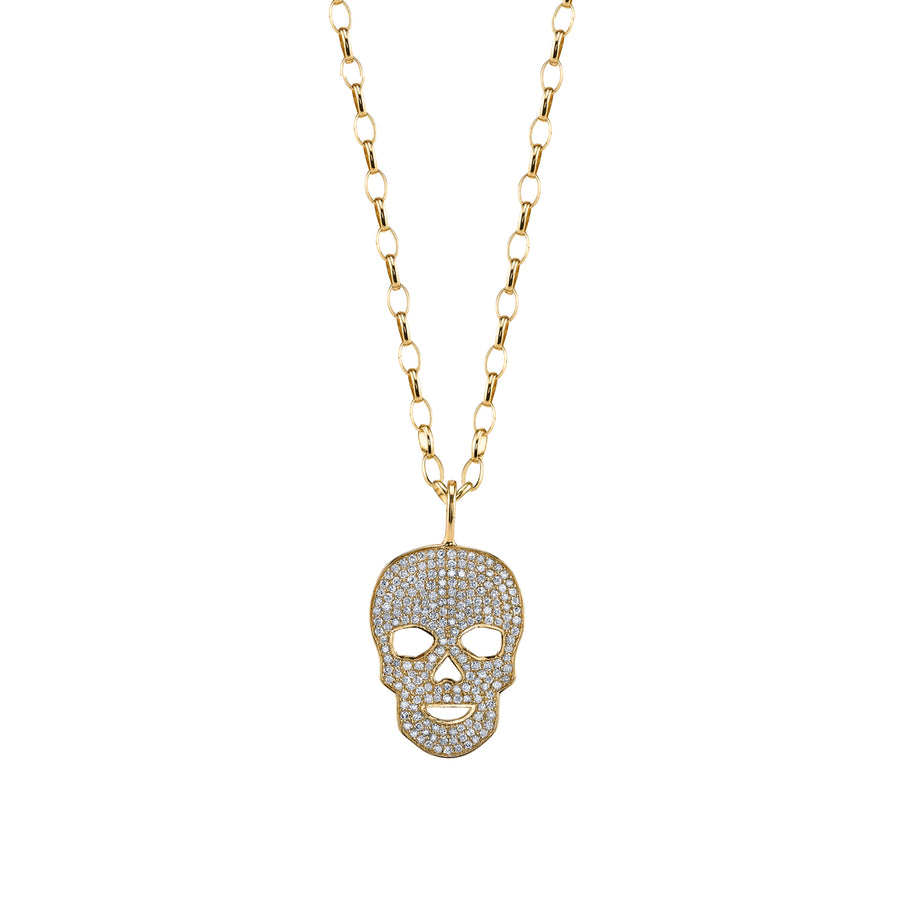 Gold & Diamond Large Skull Necklace