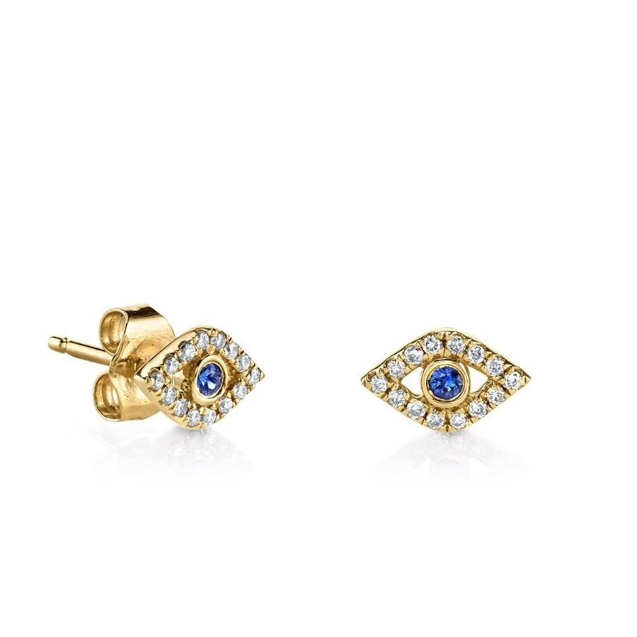 Gold & Diamond Large Bezel Evil Eye Stud Earrings