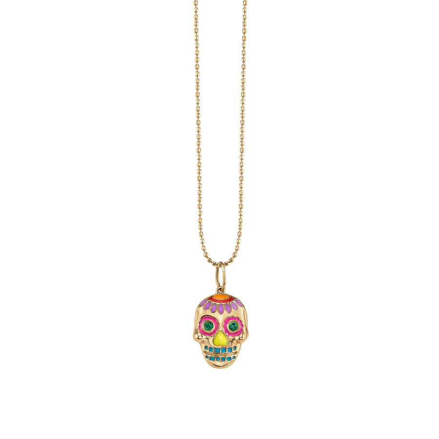 Gold & Enamel Day of the Dead Skull Necklace