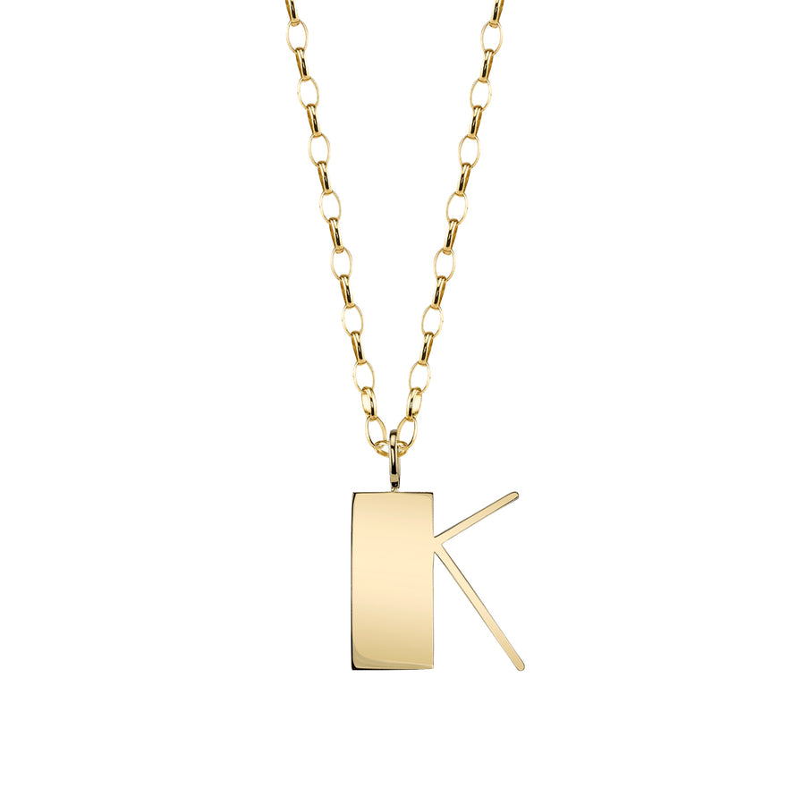 Pure Yellow Gold Large Initial Necklace