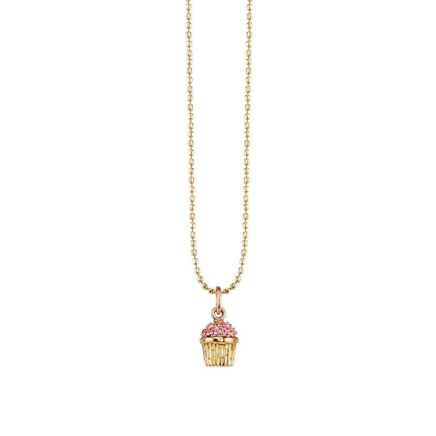 Gold & Pink Sapphire Small Cupcake Necklace