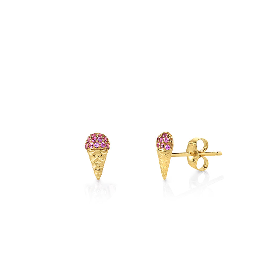 Gold & Pink Sapphire Small Ice Cream Cone Studs