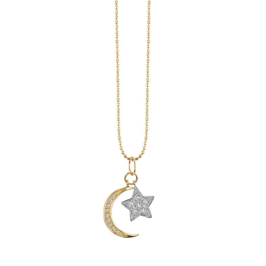 Two Tone Gold & Diamond Moon & Star Necklace
