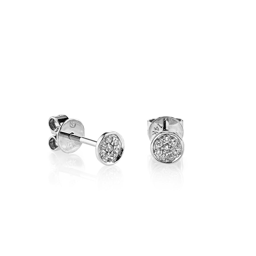 Tiny Gold & Diamond Pave Disc Stud Earrings