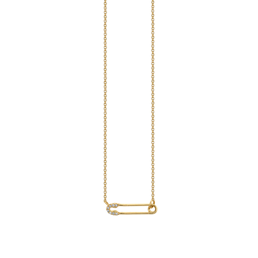 Gold & Diamond Small Safety Pin Necklace