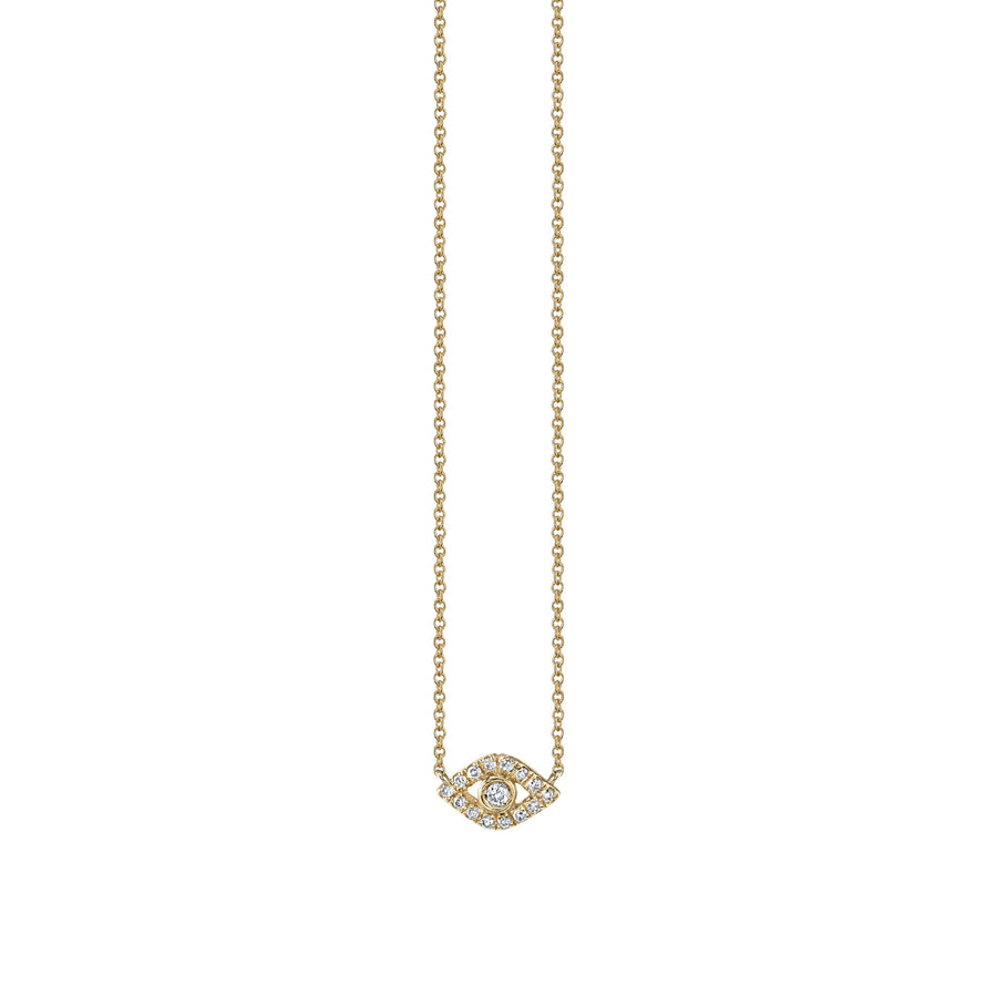 Mini Gold & Diamond Bezel Evil Eye Necklace