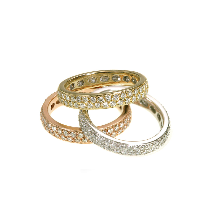 Gold & Diamond Large Trio Eternity Ring