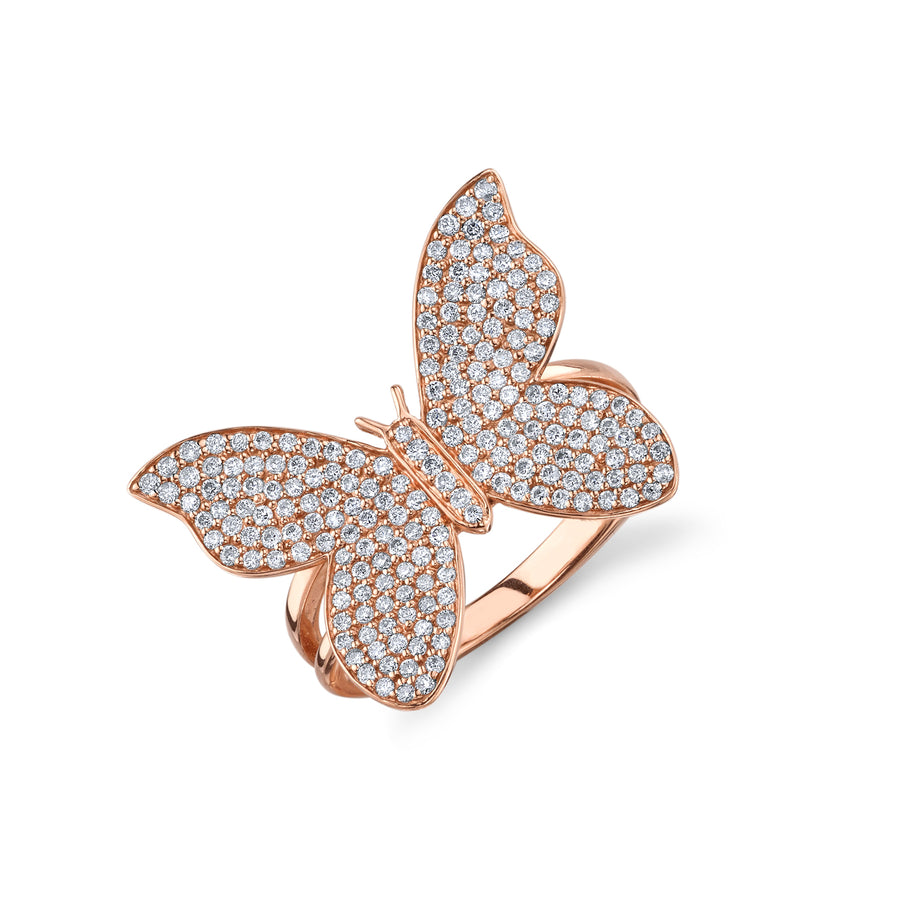 Gold & Diamond Large Butterfly Ring