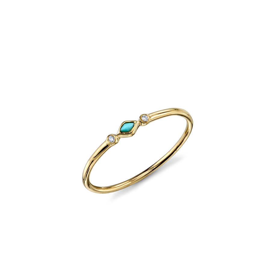 Gold & Diamond Turquoise Segment Ring