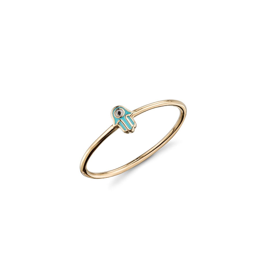 Gold & Enamel Mini Hamsa Ring