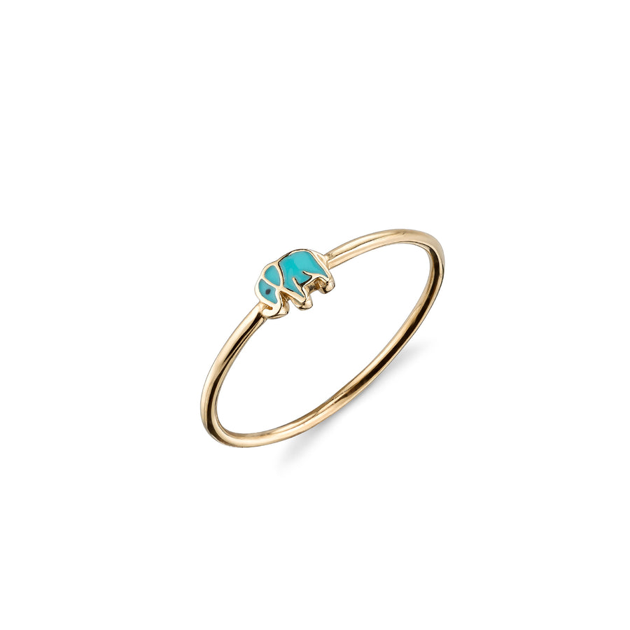 Gold & Enamel Mini Elephant Ring