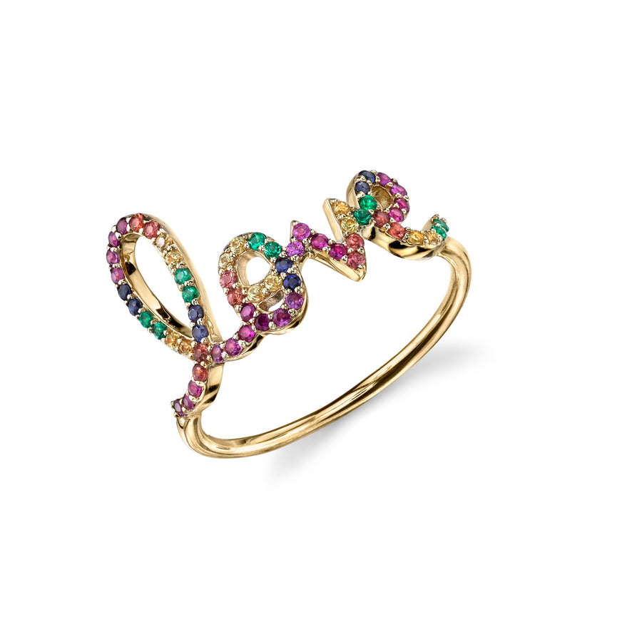 Gold & Pavé Rainbow Large Love Ring