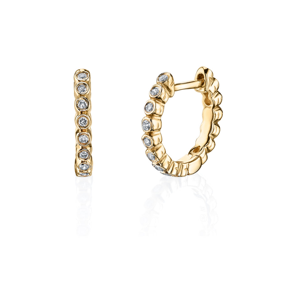 Gold & Bezel Diamond Huggie Hoops