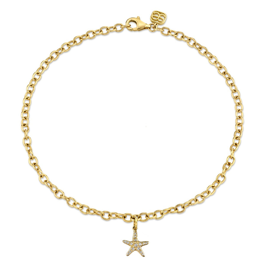 Yellow Gold & Diamond Small Starfish Anklet