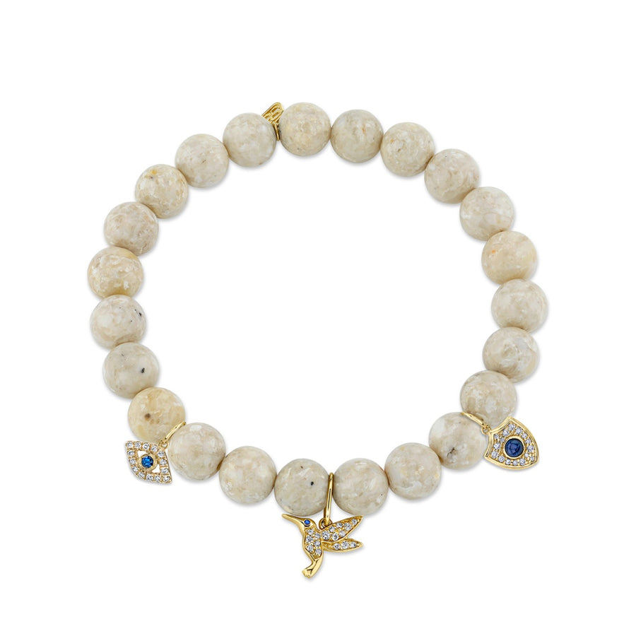 Gold & Diamond Sapphire Multi-Charm on Cream Jasper