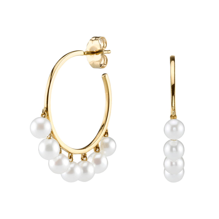Medium Yellow-Gold & Pearl Huggie Hoops