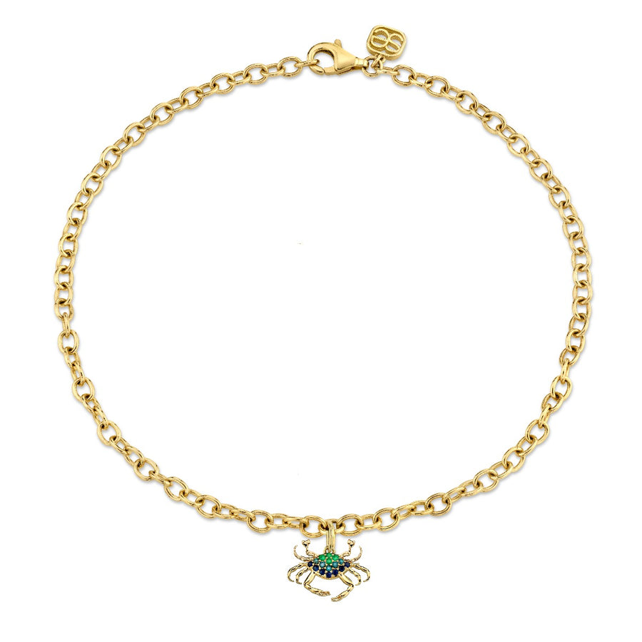Yellow Gold & Multicolor Gemstone Crab Anklet