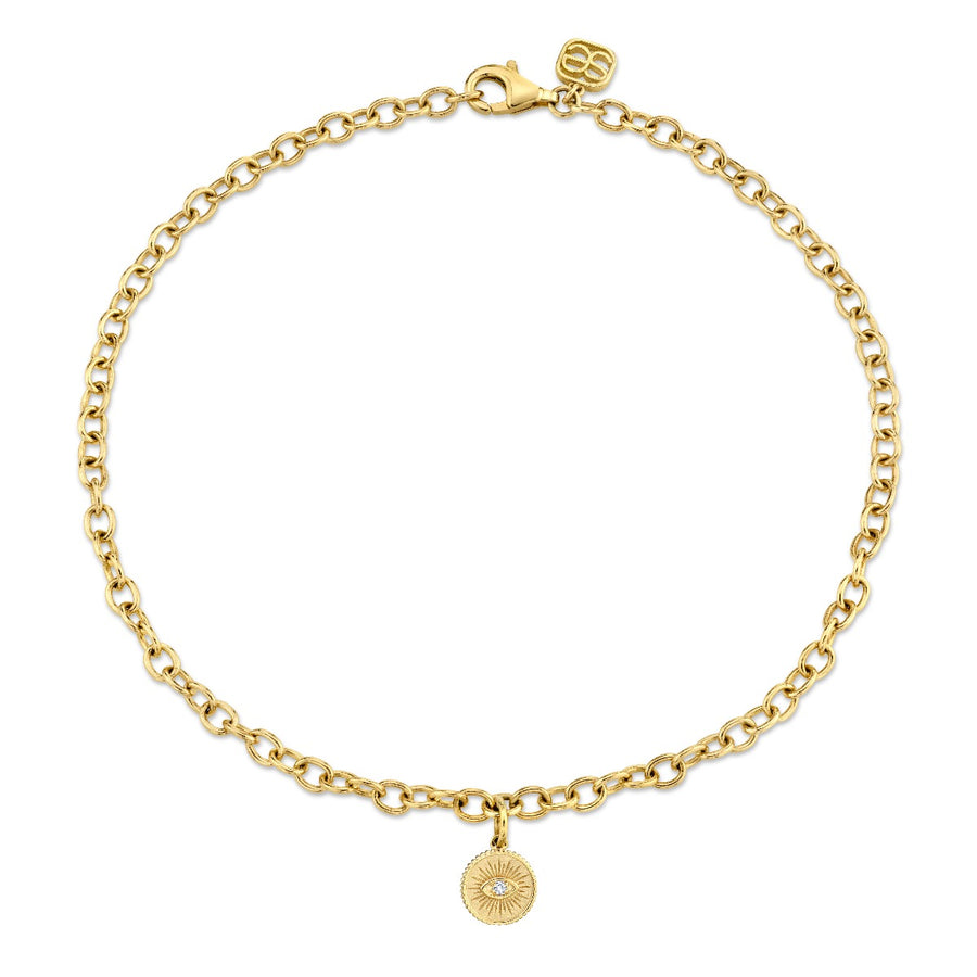 Yellow Gold & Diamond Small Marquis Eye Coin Anklet