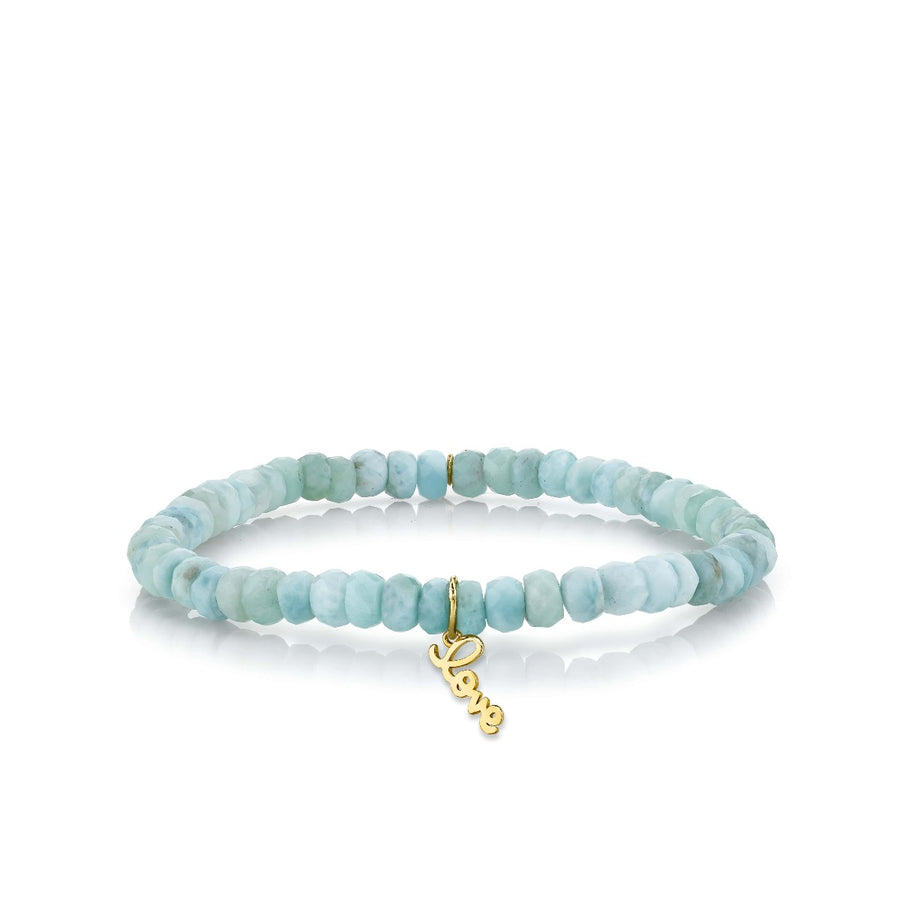 Pure Gold Tiny Love on Larimar