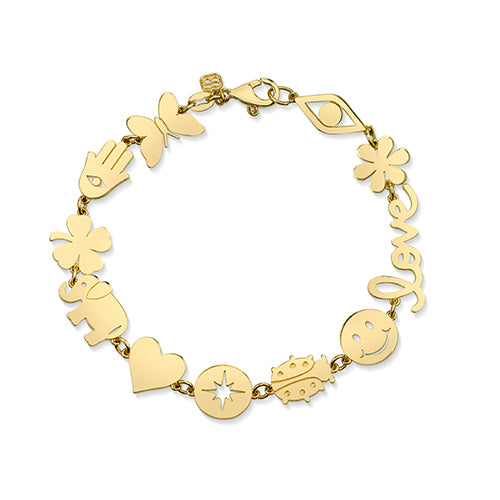 Gold Multi-Icon Pure Bracelet