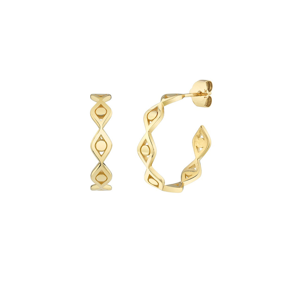 Pure Gold Evil Eye Link Hoop Earrings