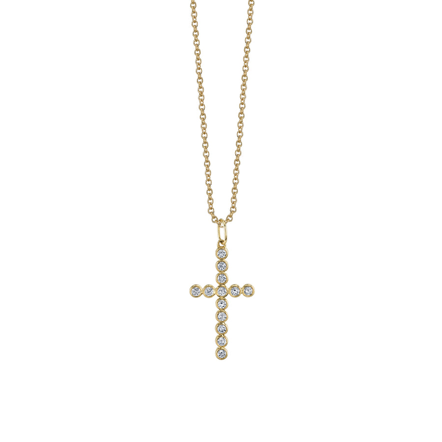 Gold & Diamond Bezel Cross Necklace