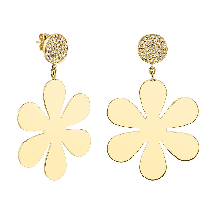 Large Yellow-Gold Pure Daisy Drop Earrings with Pavé Diamond Tops