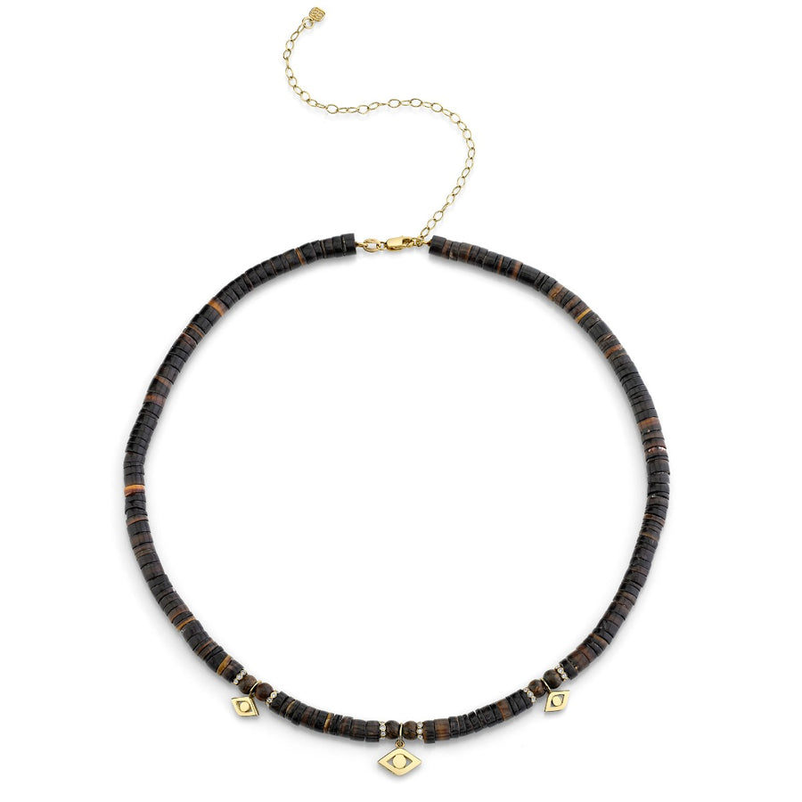 Gold Evil Eye Link & Multi Bezel Diamond Rondelle Beaded Necklace