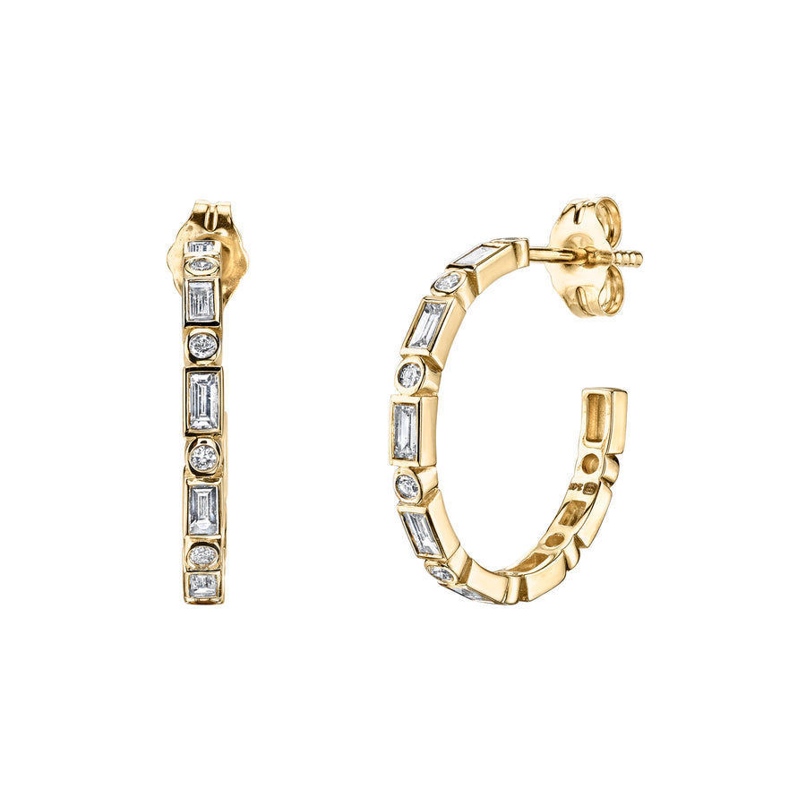 Gold & Diamond Baguette and Round Bezel Hoops