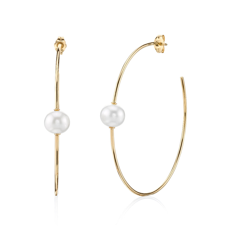Large Yellow Gold Single Pearl Hoops