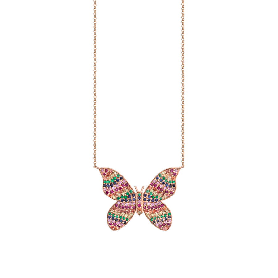 Large Rose-Gold & Rainbow Butterfly Necklace