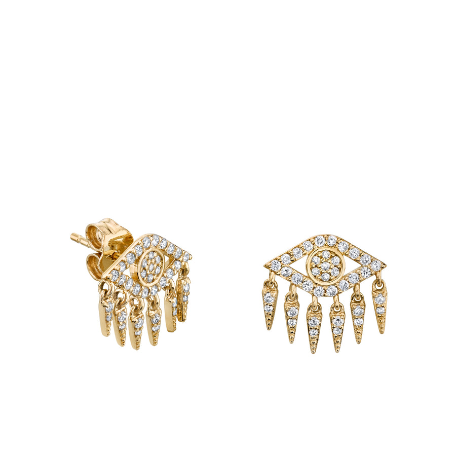 Yellow Gold & Diamond Evil Eye Fringe Stud Earrings