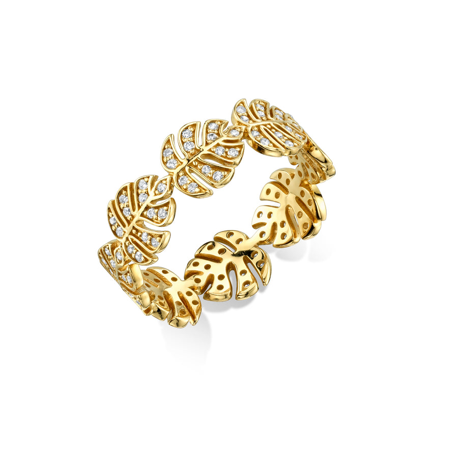 Yellow-Gold & Diamond Monstera Leaf Eternity Ring