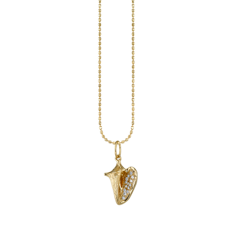 Small Yellow-Gold & Diamond Conch Shell Necklace