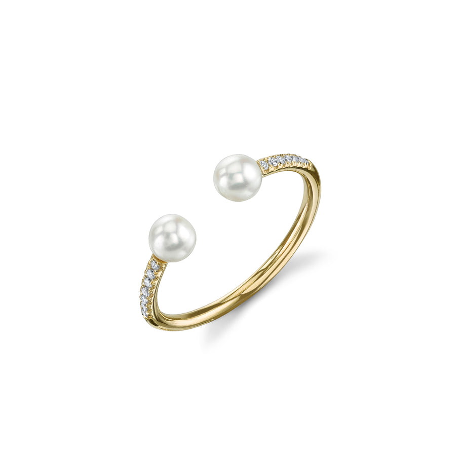 Gold & Pavé Diamond Double Pearl Ring