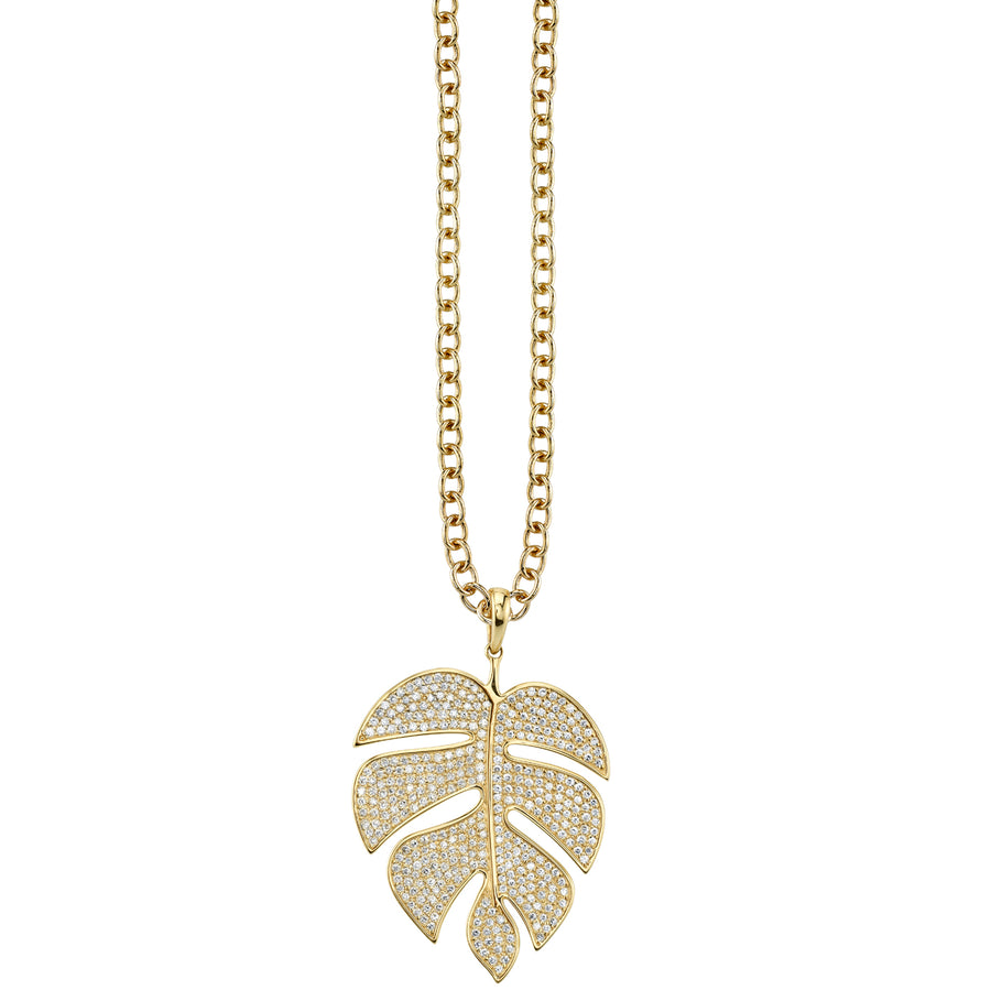 Extra Large Yellow-Gold Pavé Diamond Monstera Leaf Necklace