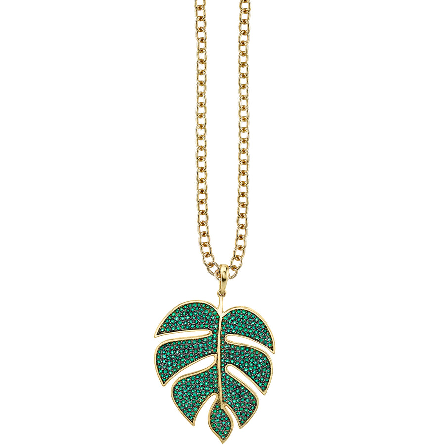 Extra Large Yellow-Gold Pavé Emerald Monstera Leaf Necklace